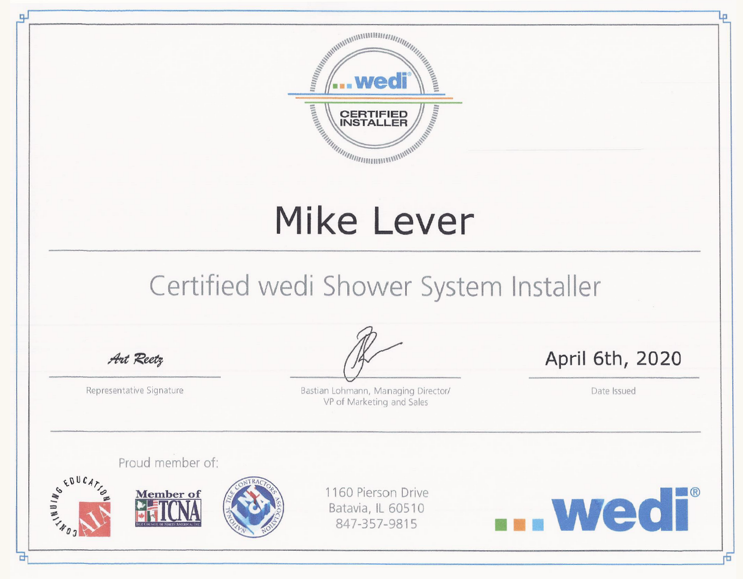 Certified Shower System Installer