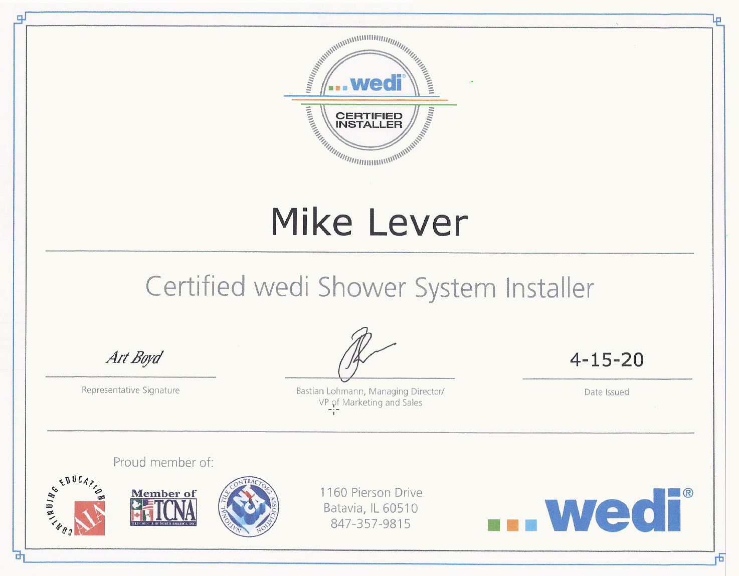 Certified wedi Shower System Installer